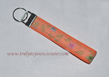 Orange Flowered Wrist Key Fob Key Ring