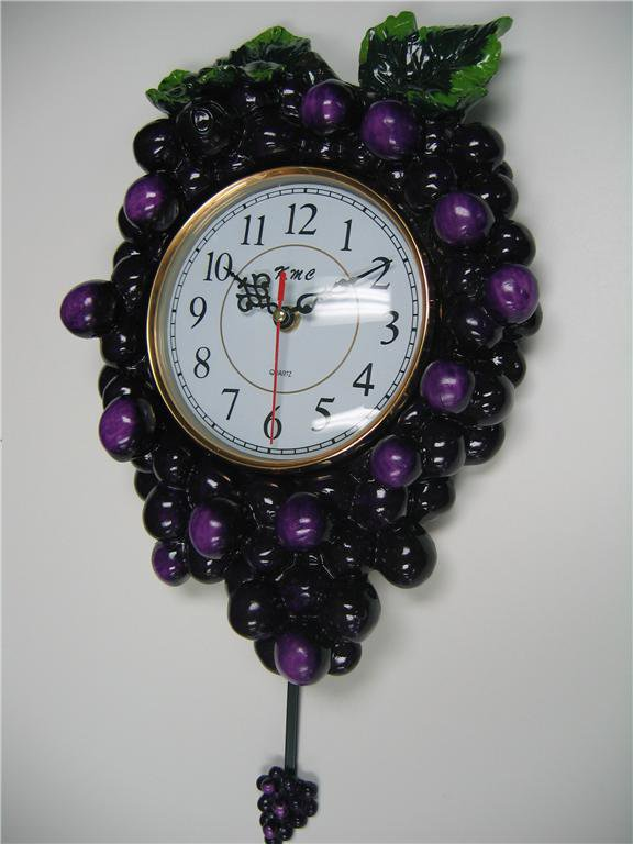 3d Grape Pendulum Wall Clock Kitchen Wine Vineyard Toscan