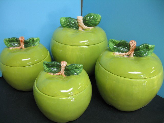 3d green apple canister set 4 pc kitchen decor storage jar for Apple kitchen decoration set