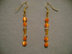 Orange Cats Eye Earrings w/Gold Filigree