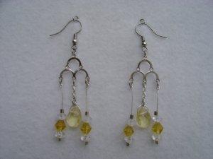 Yellow & White Stone Chandleier earrings
