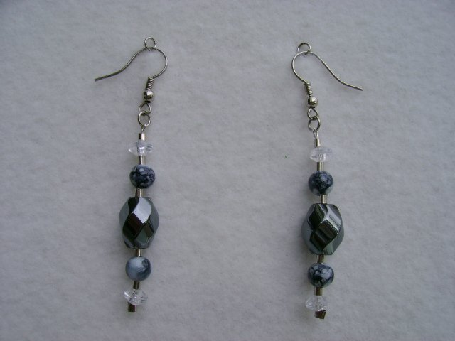 Black Swirl Stone Earrings