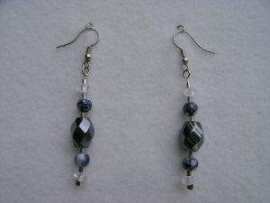 Black Swirl Stone Earrings