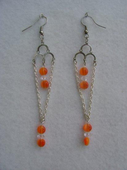 Orange Stone Chandelier Earrings