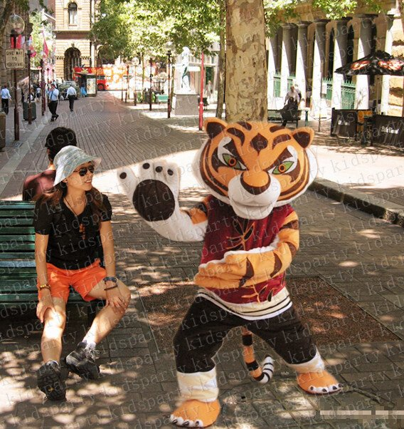 New high quality kungfu tiger mascot costume adult size Halloween costume fancy dress free shipping