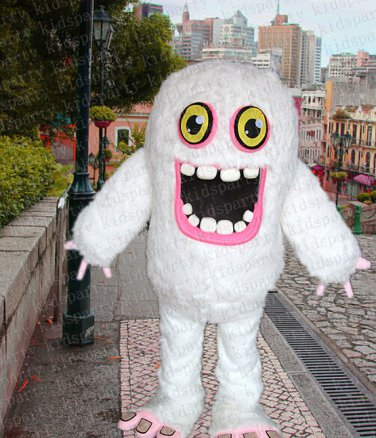 white monster mascot costume Daniel adult size Halloween costume fancy dress free shipping