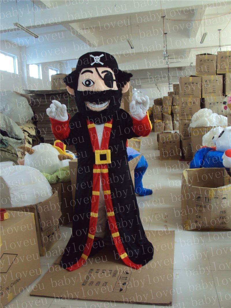 New Professinal Pirate Captain Mascot Costume Fancy Dress Adult Size