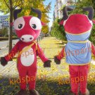 New red cow Mascot Costumes Christmas Halloween Outfit Fancy Dress Suit Free Shipping