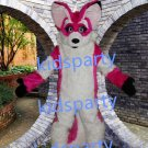 New high quality pink fox fursuit mascot costume husky dog mascot Free Shipping
