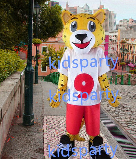 new yellow leopard mascot costumes  fursuit christmas Halloween costume