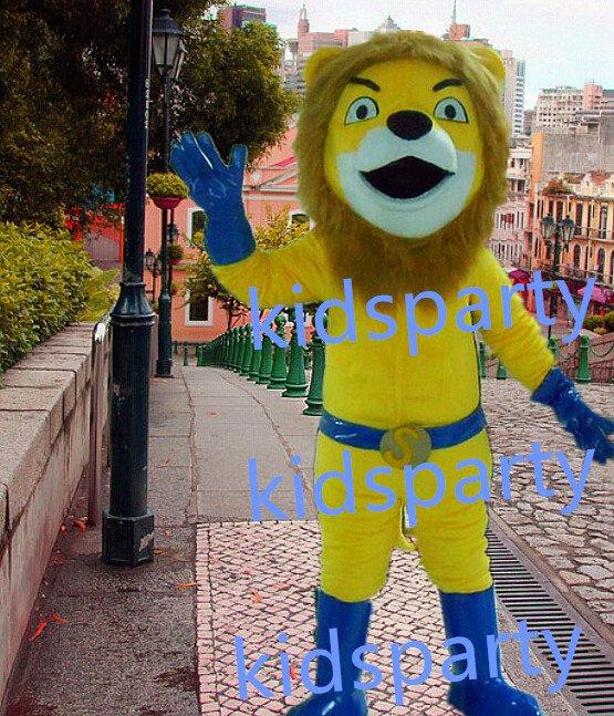 New yellow super lion mascot costumes  fursuit christmas Halloween costume