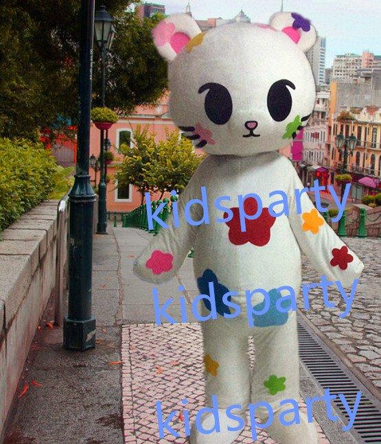 New white flower cat mascot costumes  fursuit christmas Halloween costume