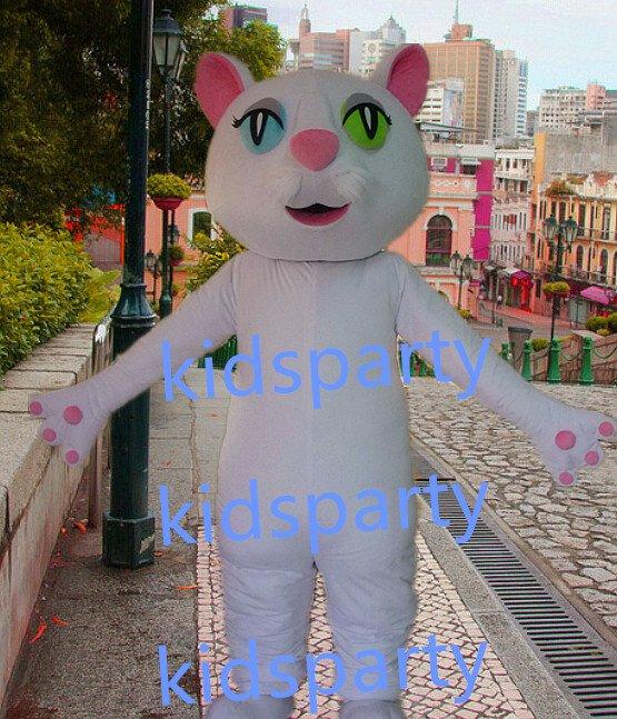 New white cat Mascot Costume Mascot Parade Quality Clowns Birthdays Fancy dress party
