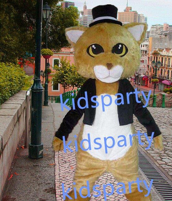 New gentleman Cat Mascot Costume Mascot Parade Quality Clowns Birthdays Fancy dress party