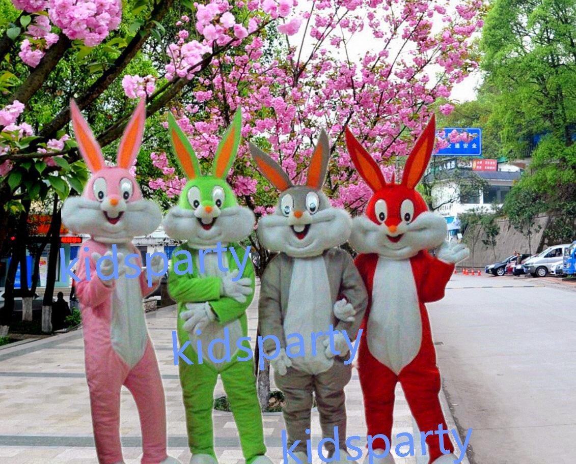 New 4 pcs rabbits Mascot Costume Mascot Parade Quality Clowns Birthdays Fancy dress party