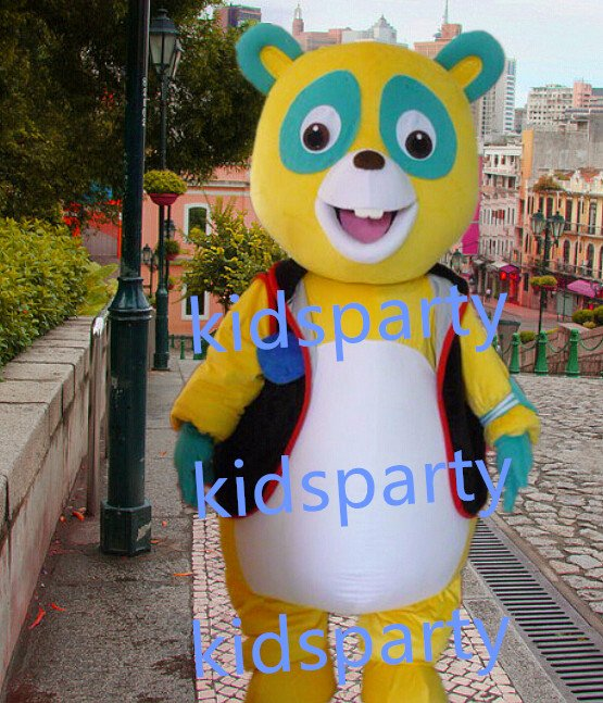New yellow bear Mascot Costume Mascot Parade Quality Clowns Birthdays Fancy dress party