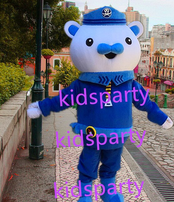 New blue bear Mascot Costume Mascot Parade Quality Clowns Birthdays Fancy dress party
