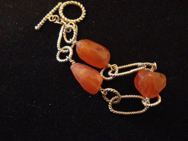 Sterling Silver Carnelian Chunk 7.5 Bracelet