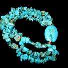 Handcrafted Turquoise Chips and Nugget Stretch Bracelet