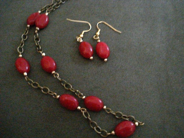 Handmade Genuine Ruby Oval Beads on Brass Chain and Earrings Set