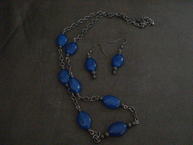 Handmade Genuine Sapphire Oval Beads on Steel Chain and Earrings Set