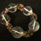Tourmaline Chips and Glass Spheres Stretch Necklace Handmade