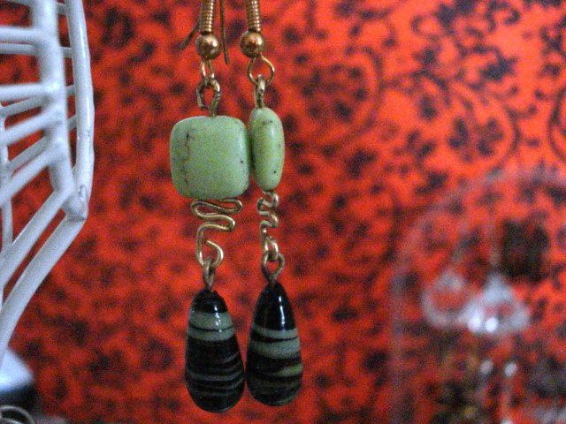 Genuine Mint Turquoise and Lamp work Beads Handmade Earrings