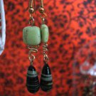 Genuine Mint Turquoise and Lamp work Beads Handmade Earrings