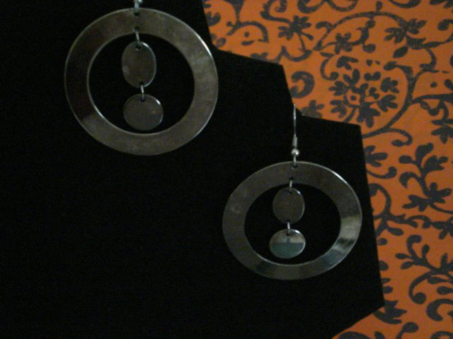 Handmade Antique Silver Hoops with Charms