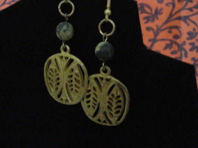 Handmade Genuine Yellow Turquoise Beads and  Leaves Pendant Earrings