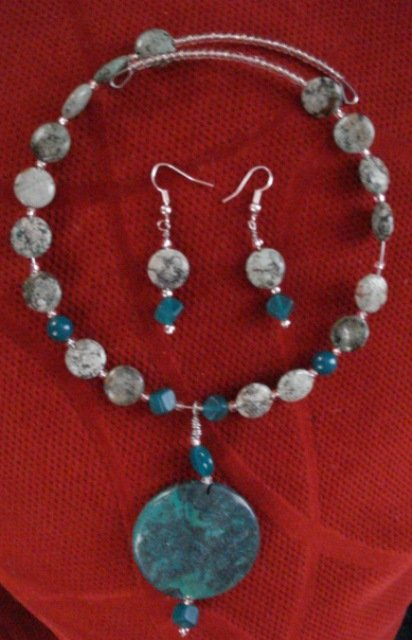 Handmade African Turquoise Beads, Pendant Memory Wire and Earrings Set
