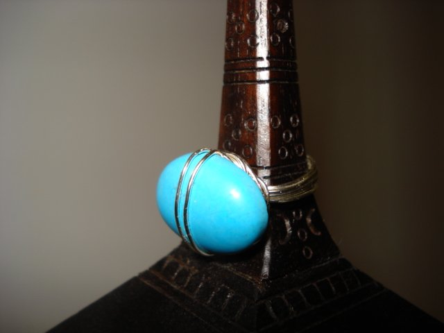 Handcrafted Wire Wrapped Genuine Turquoise Cabochon  Ring Size 7