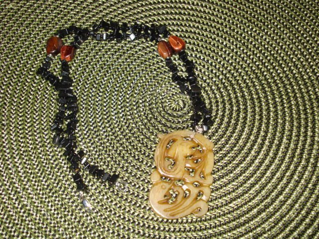 Genuine Blackstone and Red Tiger Eye Beads with Soapstone  Necklace