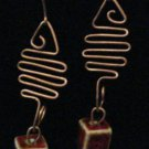 Hand forged Copper Wire Earrings with Ceramic Cubed Beads and Onyx