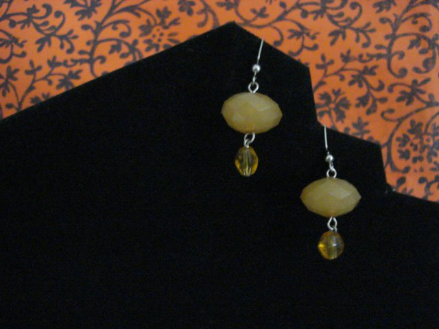 Handmade Earrings of Acrylic Yellow Domed Beads and Yellow Glass Beads