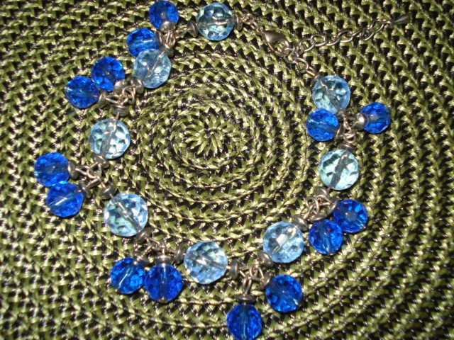 Austrian Blue Crystals Dangle on a Stainless Steel Bracelet Chain