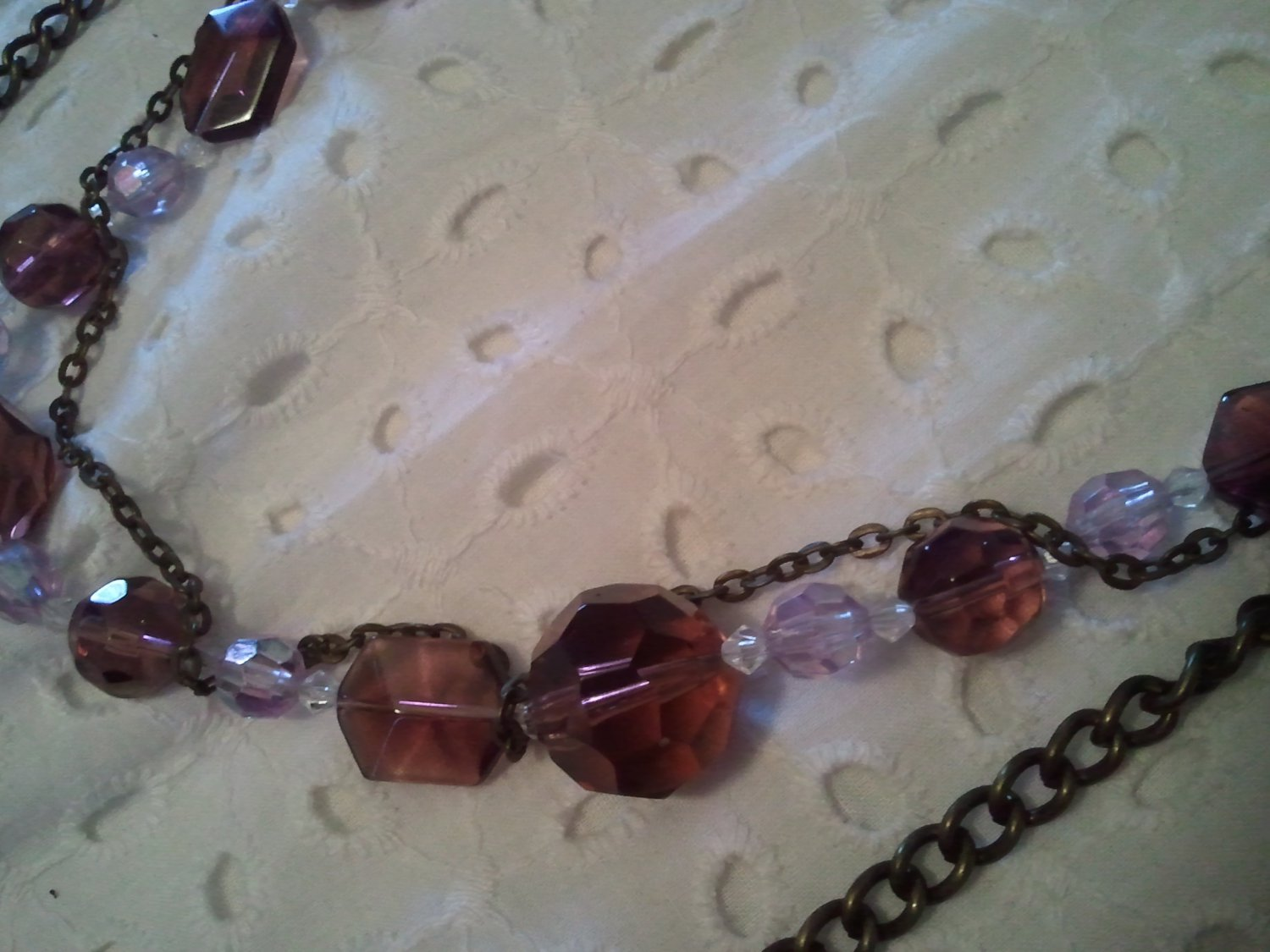 Genuine Lavender, Swarovski Crystals on Copper Chains, Long Necklace