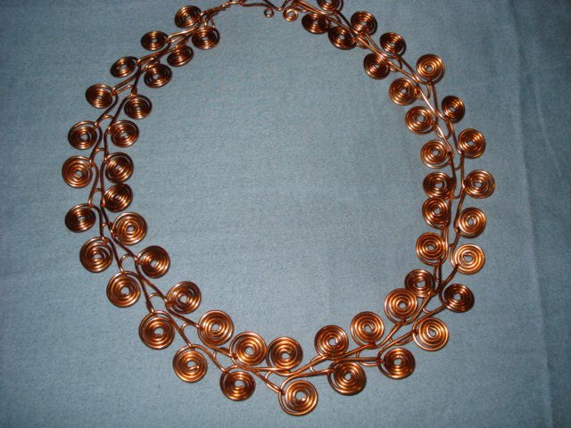 Hand forged Copper Wire Scrolls with Handmade Wire Wrapped Clasp