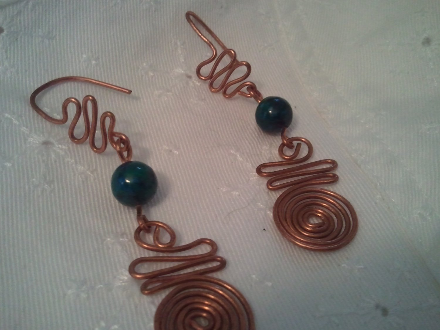 Handcrafted Copper Wire and Genuine Chrysoprase Beads Earrings