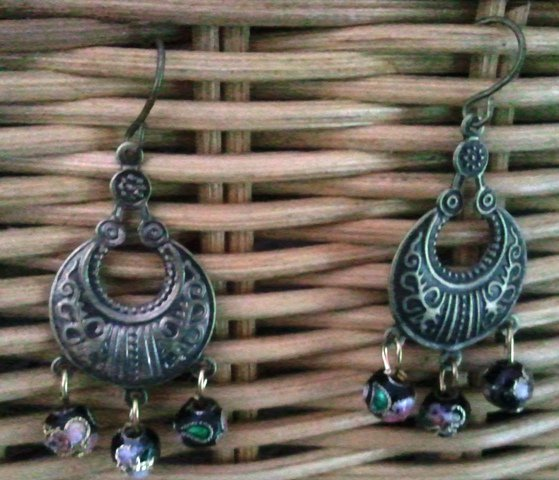 Genuine Black, Cloisonne Beads and Burnt Copper  Earrings
