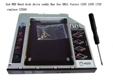 2nd HDD Hard disk drive caddy Bay for DELL Vostro 1320 1520 1720 replace UJ8A0
