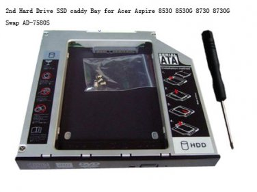 2nd HDD Hard Drive SSD caddy adapter Bay for Acer Aspire 5540 5541 5542 5542G