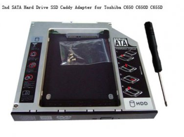 2nd SATA Hard Drive SSD Caddy Adapter for Toshiba C650 C650D C655D