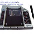 Second SATA Hard Drive SSD Caddy for lenovo Y550 Y560 Y570 Y650 Y710 Y730 Y580