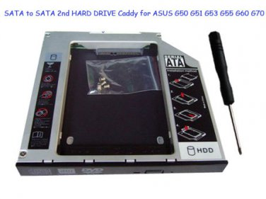 SATA to SATA 2nd HARD DRIVE 12.7mm Caddy for ASUS G50 G51 G53 G55 G60 G70
