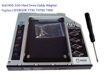 2nd HDD SSD Hard Drive Caddy Adapter Fujitsu LIFEBOOK T730 TH700 T900