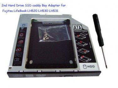 2nd Hard Drive SSD caddy Bay Adapter for Fujitsu LifeBook LH520 LH530 LH531