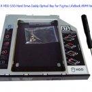 2nd SATA HDD SSD Hard Drive Caddy Optical Bay for Fujitsu LifeBook A544 Notebook