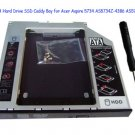 2nd SATA Hard Drive SSD Caddy Bay for Acer Aspire 5734 AS5734Z-4386 AS5734Z-4725