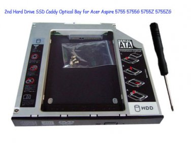 2nd Hard Drive SSD Caddy Optical Bay for Acer Aspire 5755 5755G 5755Z 5755ZG